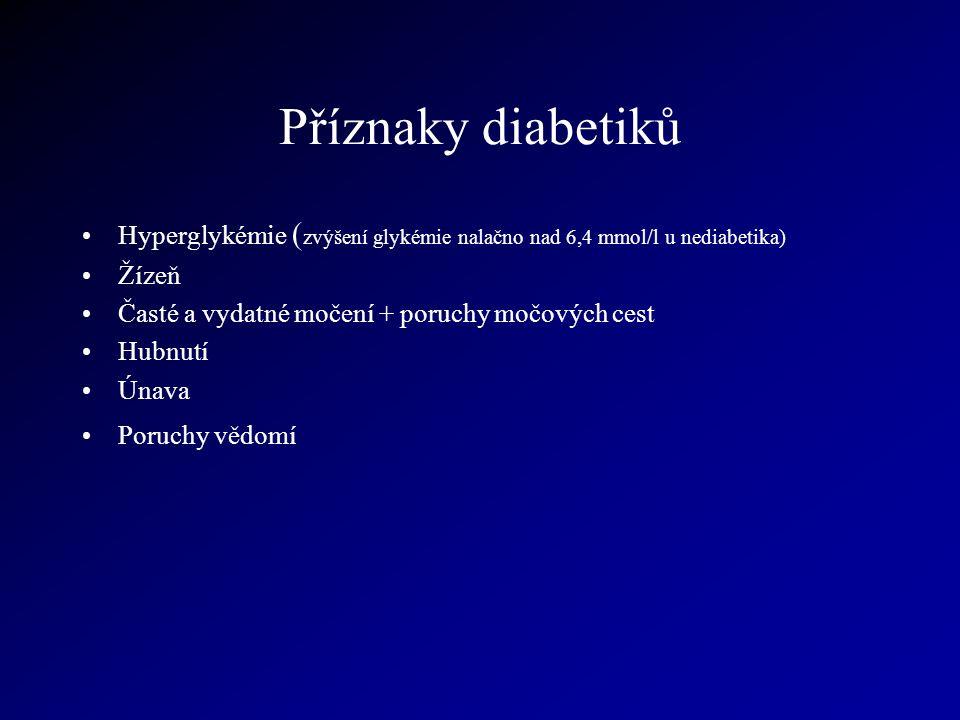 Příznaky diabetiků Hyperglykémie (zvýšení glykémie nalačno nad 6,4 mmol/l u nediabetika) Žízeň. Časté a vydatné močení + poruchy močových cest.