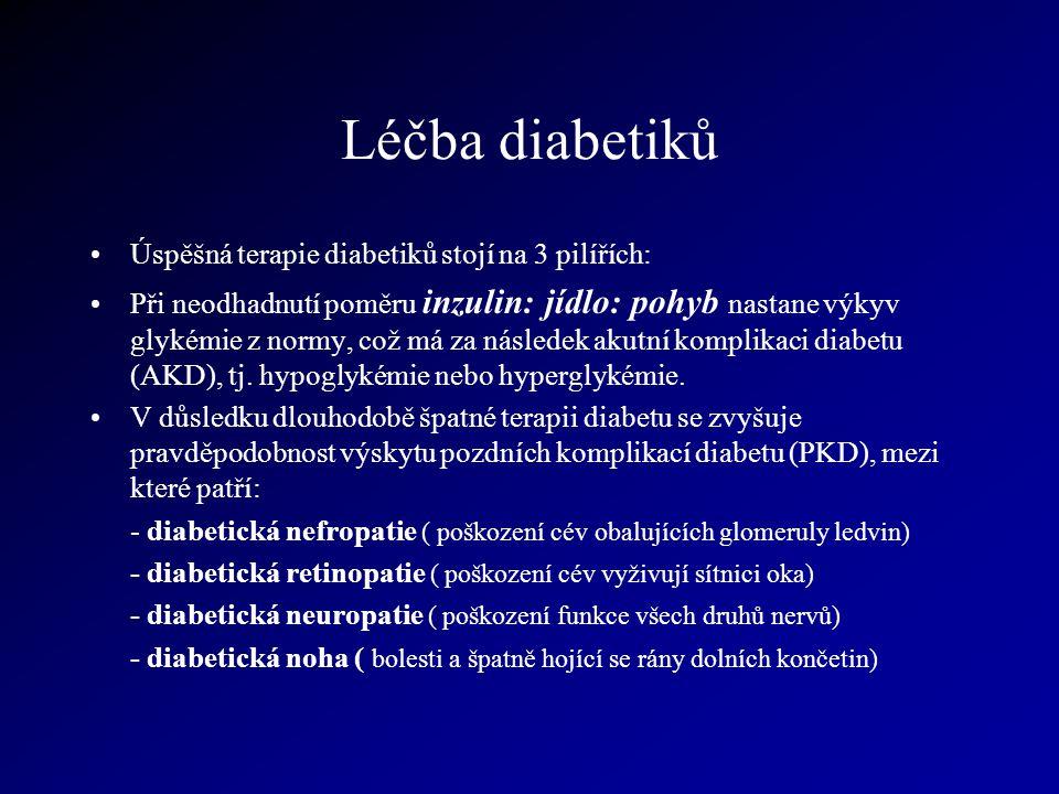 Léčba diabetiků Úspěšná terapie diabetiků stojí na 3 pilířích: