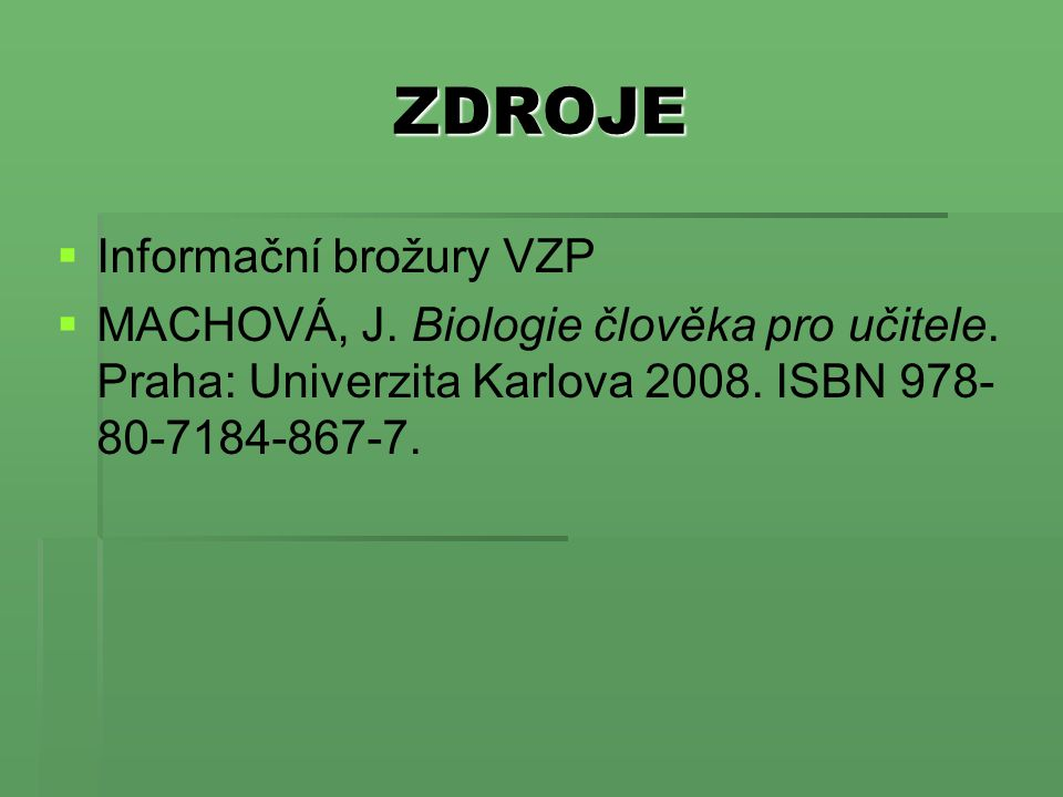 ZDROJE Informační brožury VZP
