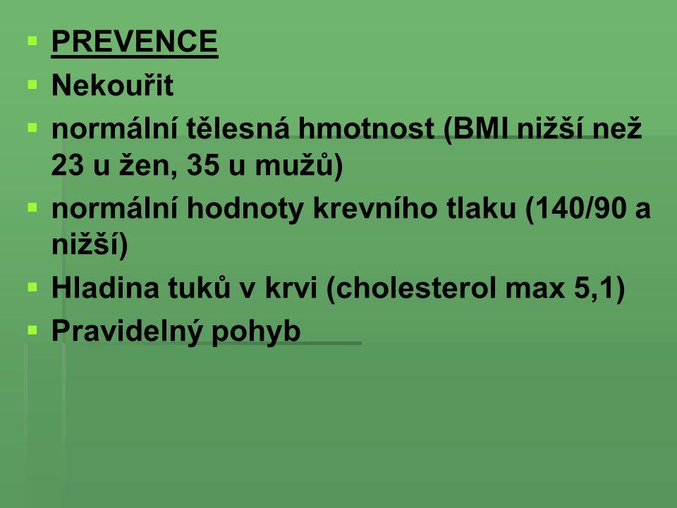 PREVENCE Nekouřit. normální tělesná hmotnost (BMI nižší než 23 u žen, 35 u mužů) normální hodnoty krevního tlaku (140/90 a nižší)