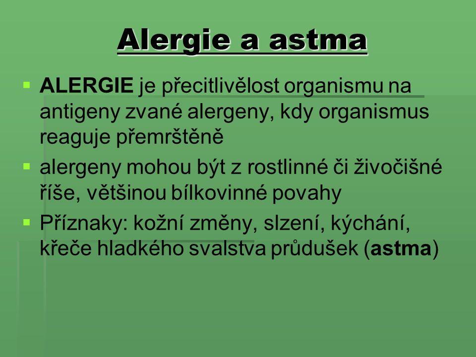 Alergie a astma ALERGIE je přecitlivělost organismu na antigeny zvané alergeny, kdy organismus reaguje přemrštěně.