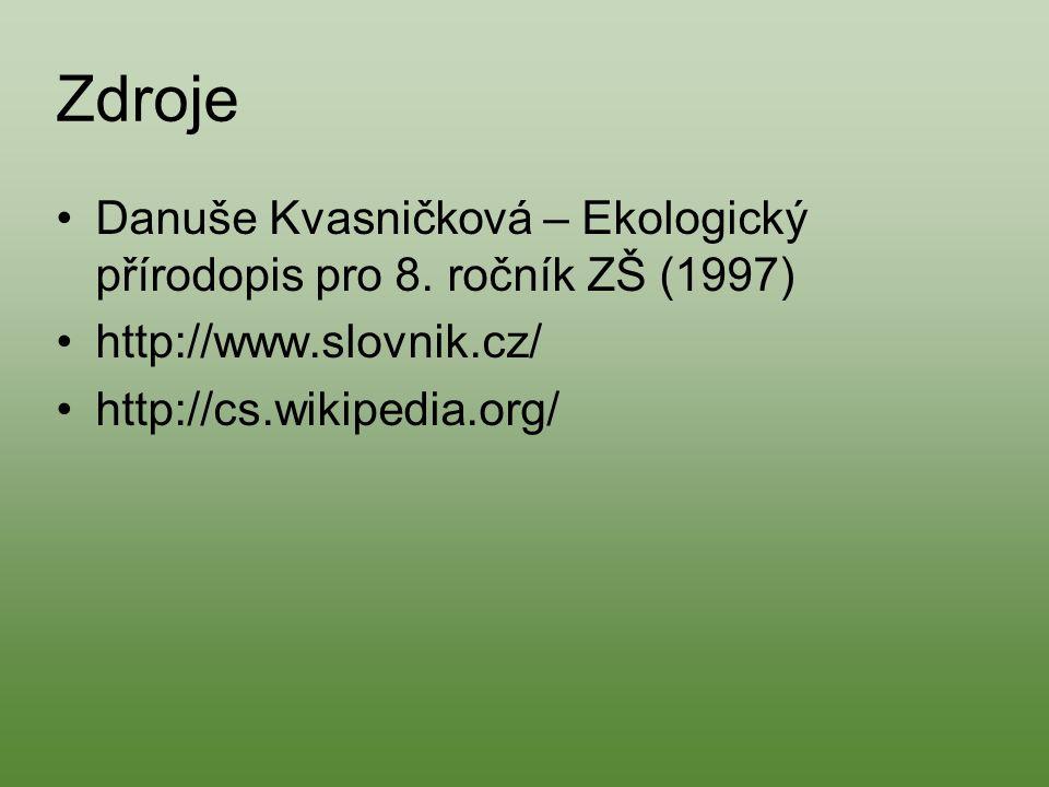 Zdroje Danuše Kvasničková – Ekologický přírodopis pro 8.