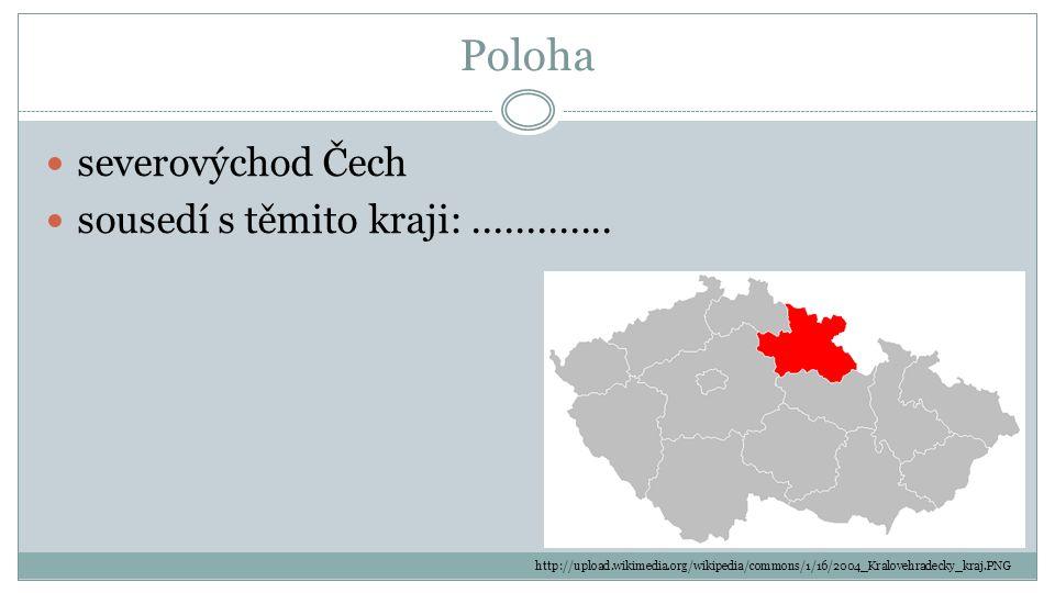 Poloha severovýchod Čech sousedí s těmito kraji: .............