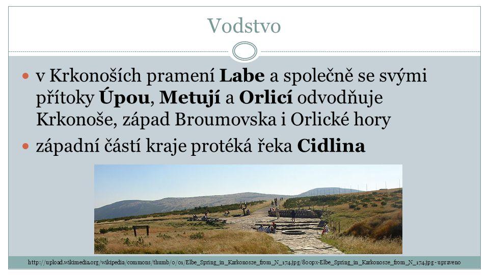 Vodstvo v Krkonoších pramení Labe a společně se svými přítoky Úpou, Metují a Orlicí odvodňuje Krkonoše, západ Broumovska i Orlické hory.