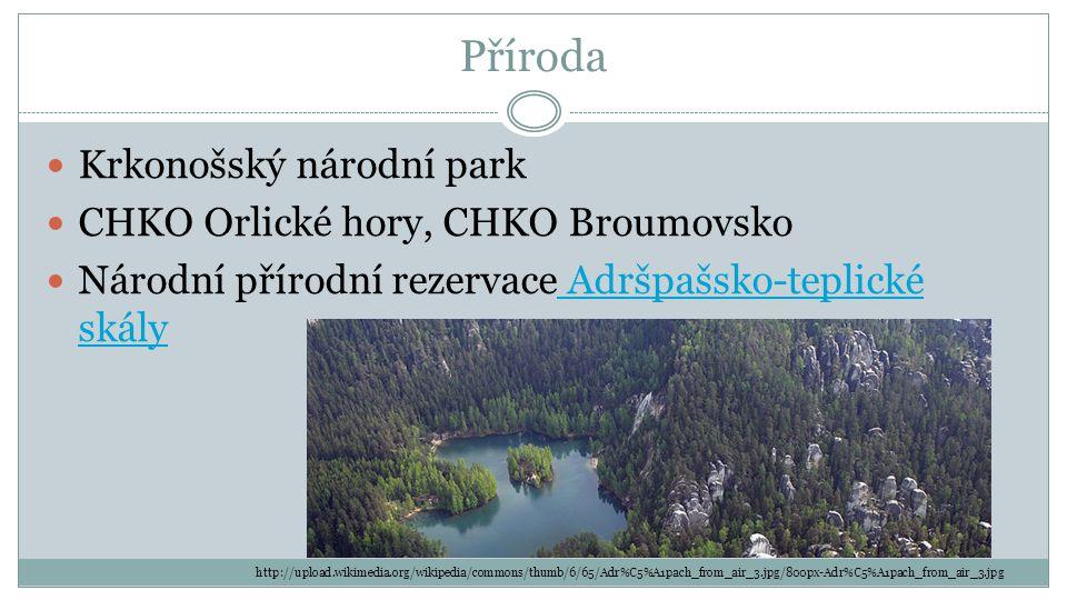 Příroda Krkonošský národní park CHKO Orlické hory, CHKO Broumovsko