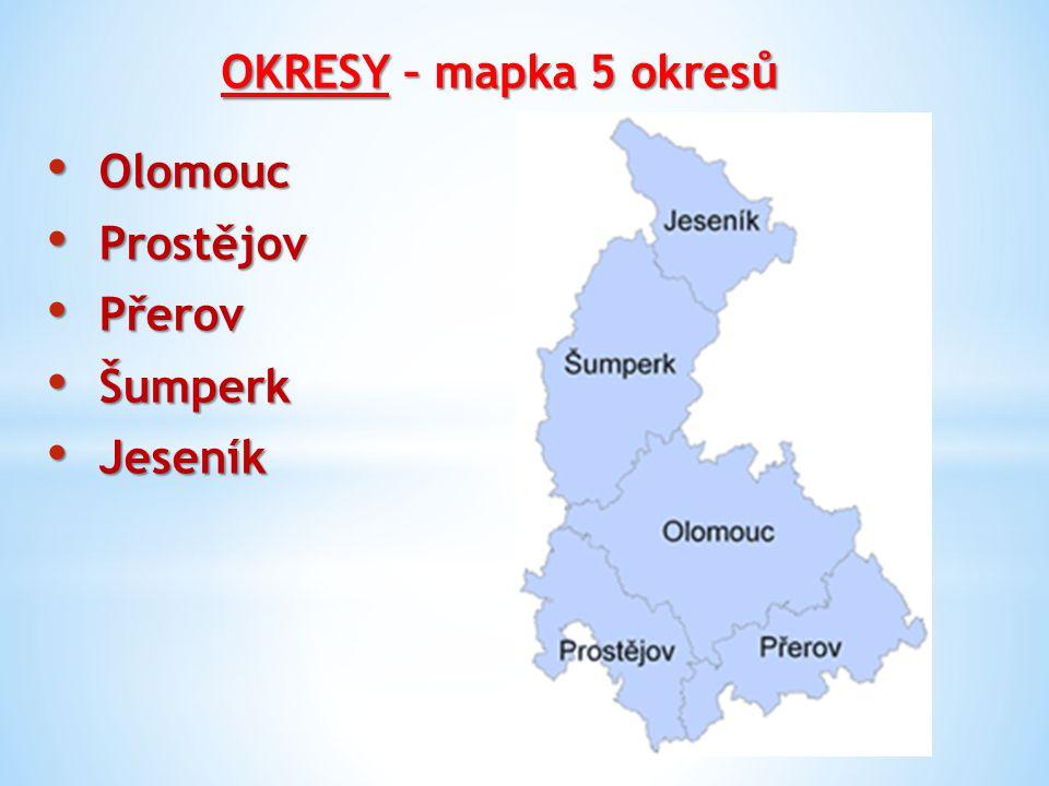 OKRESY – mapka 5 okresů Olomouc Prostějov Přerov Šumperk Jeseník
