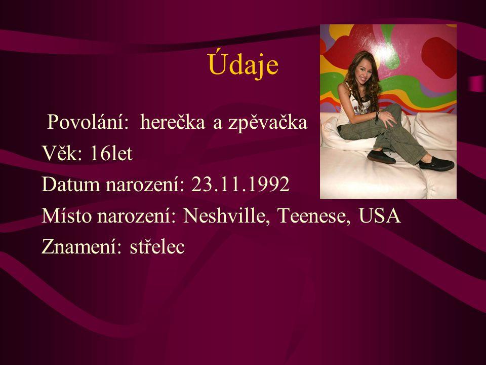 Údaje Povolání: herečka a zpěvačka Věk: 16let