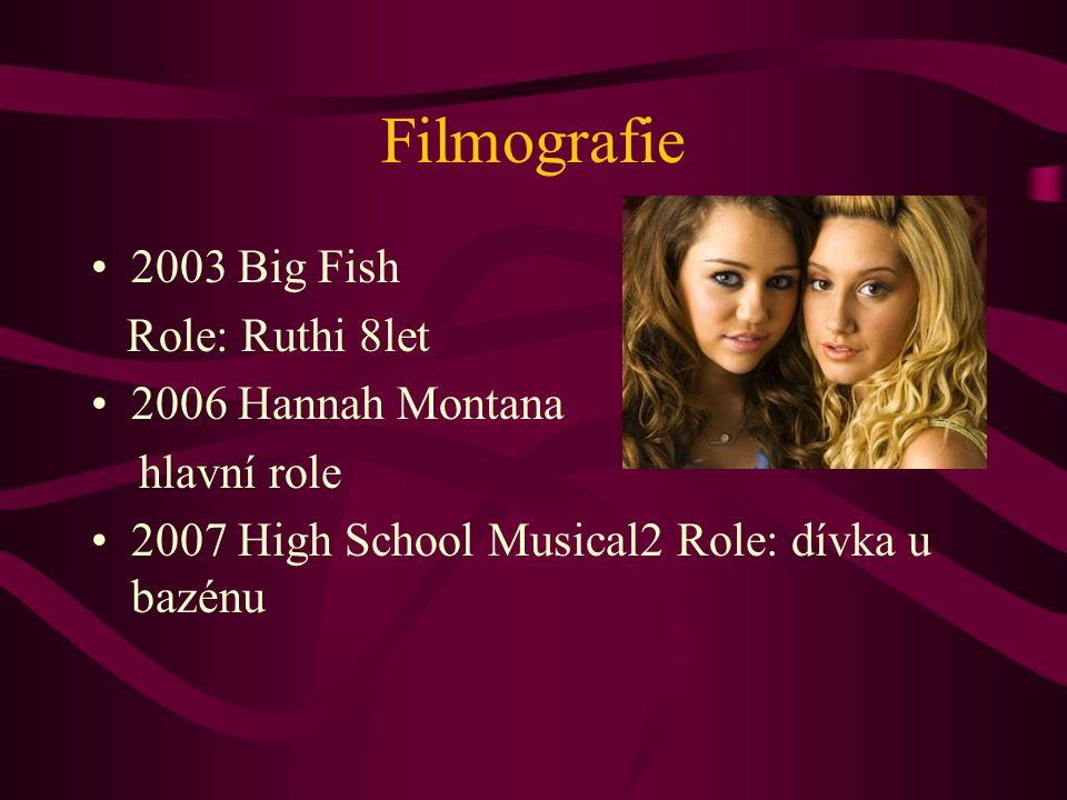 Filmografie 2003 Big Fish Role: Ruthi 8let 2006 Hannah Montana