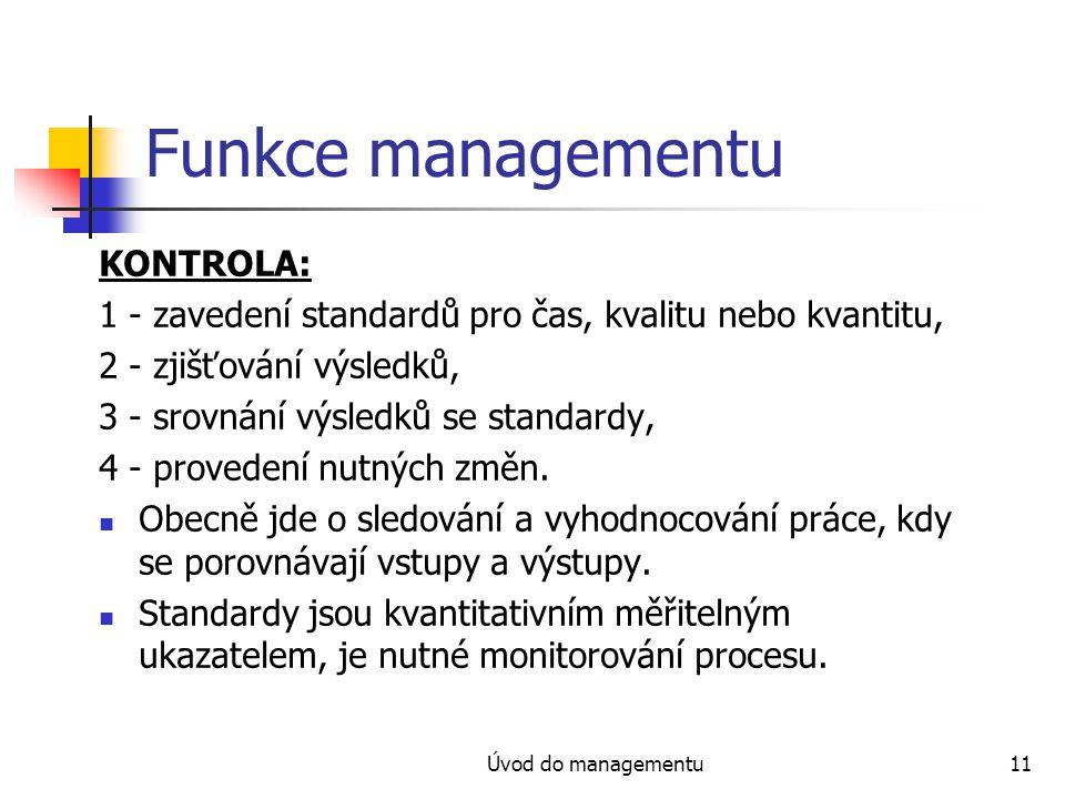 Funkce managementu KONTROLA: