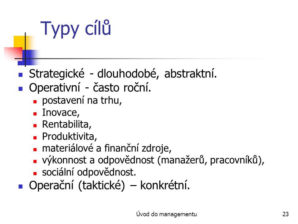 Typy cílů Strategické - dlouhodobé, abstraktní.