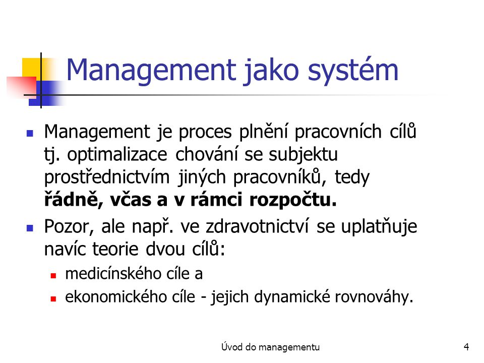 Management jako systém