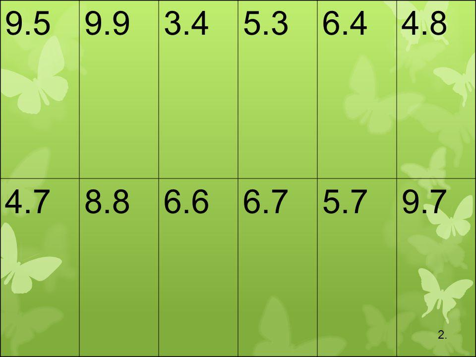 9.5 9.9 3.4 5.3 6.4 4.8 4.7 8.8 6.6 6.7 5.7 9.7 2.