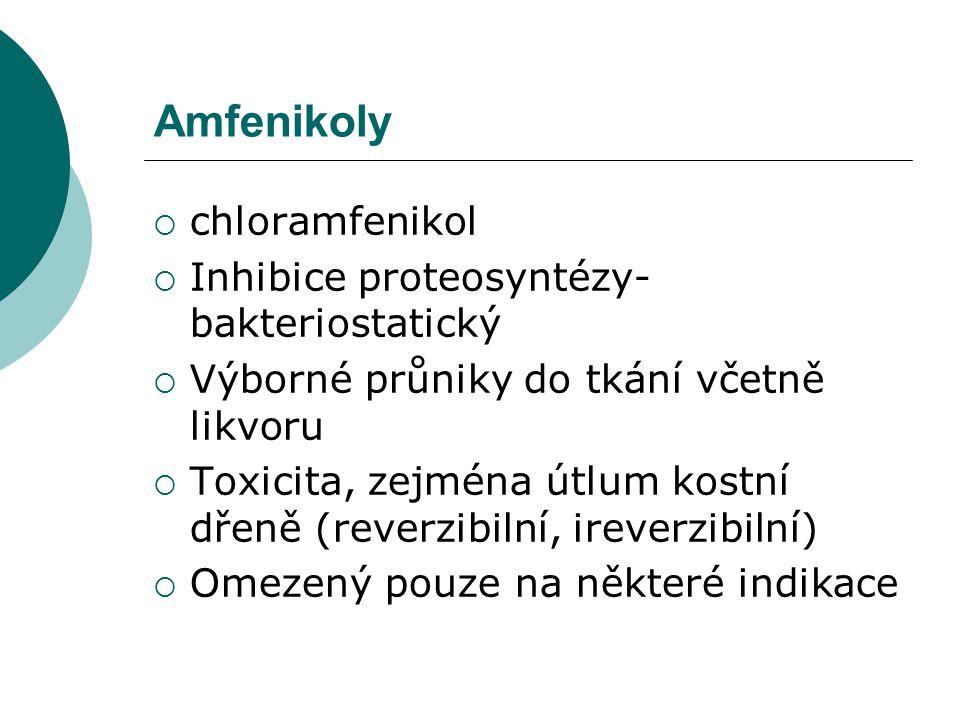 Amfenikoly chloramfenikol Inhibice proteosyntézy- bakteriostatický