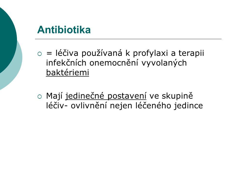 Antibiotika = léčiva používaná k profylaxi a terapii infekčních onemocnění vyvolaných baktériemi.