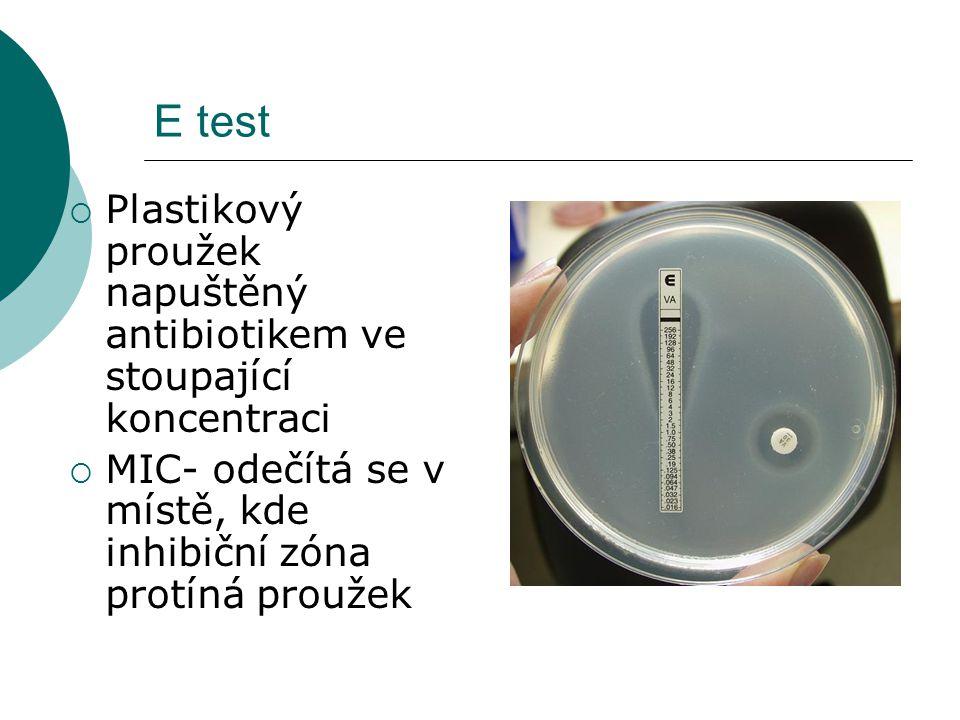 E test Plastikový proužek napuštěný antibiotikem ve stoupající koncentraci.