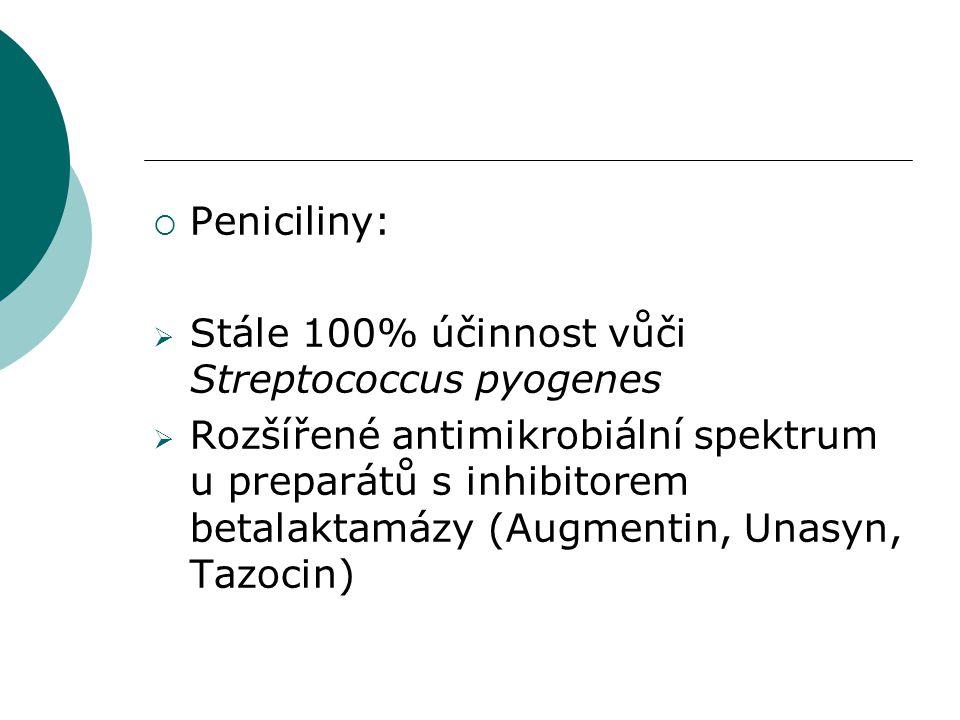 Peniciliny: Stále 100% účinnost vůči Streptococcus pyogenes.