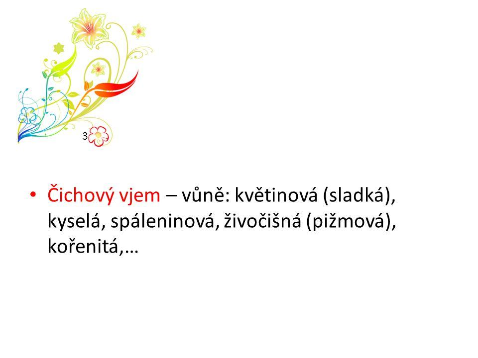 3 Čichový vjem – vůně: květinová (sladká), kyselá, spáleninová, živočišná (pižmová), kořenitá,…