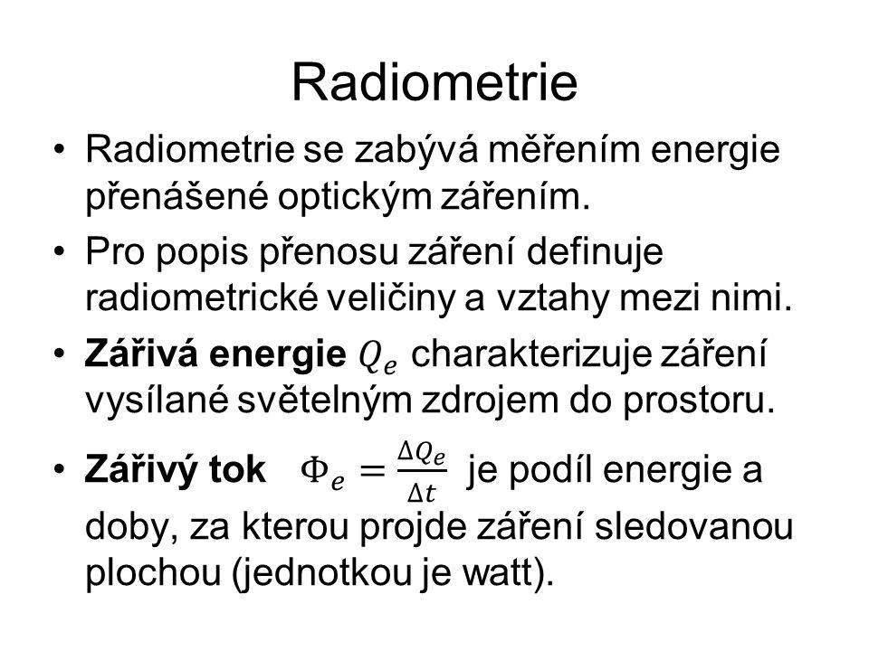 Radiometrie Radiometrie se zabývá měřením energie přenášené optickým zářením.