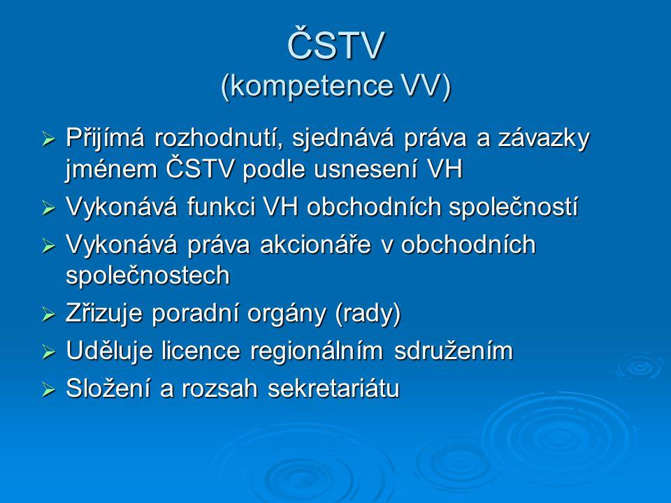 ČSTV (kompetence VV) Přijímá rozhodnutí, sjednává práva a závazky jménem ČSTV podle usnesení VH. Vykonává funkci VH obchodních společností.