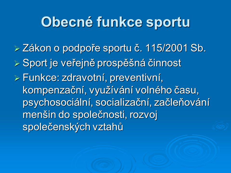 Obecné funkce sportu Zákon o podpoře sportu č. 115/2001 Sb.