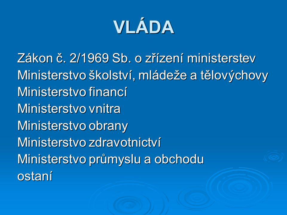 VLÁDA Zákon č. 2/1969 Sb. o zřízení ministerstev