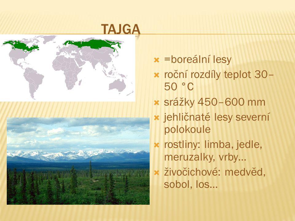 Tajga =boreální lesy roční rozdíly teplot 30–50 °C srážky 450–600 mm