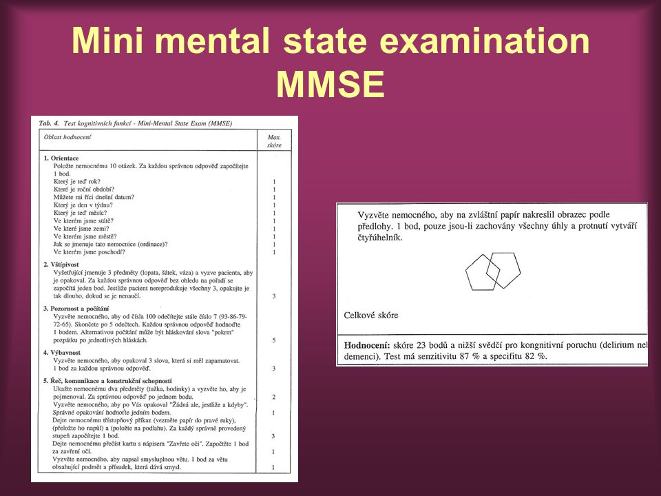 Mini mental state examination MMSE