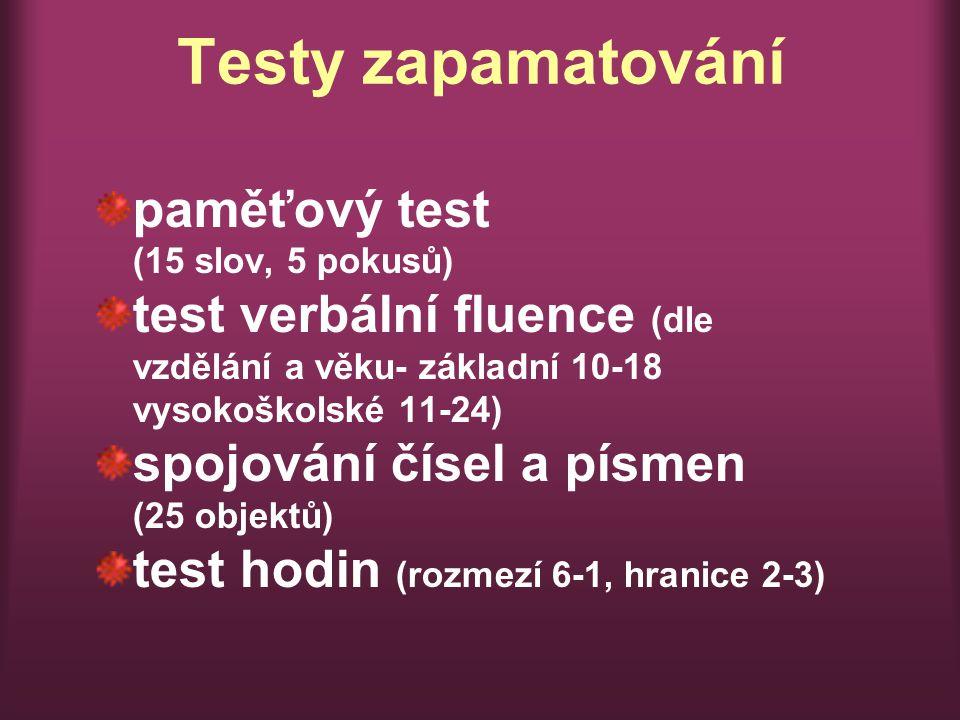 Testy zapamatování paměťový test (15 slov, 5 pokusů)