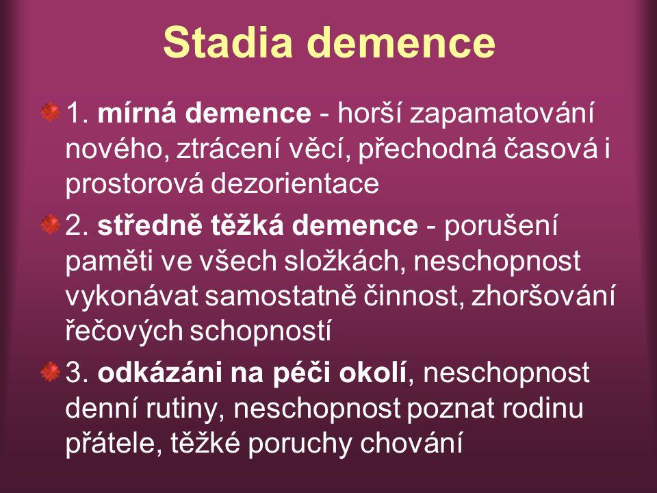 Stadia demence 1. mírná demence - horší zapamatování nového, ztrácení věcí, přechodná časová i prostorová dezorientace.