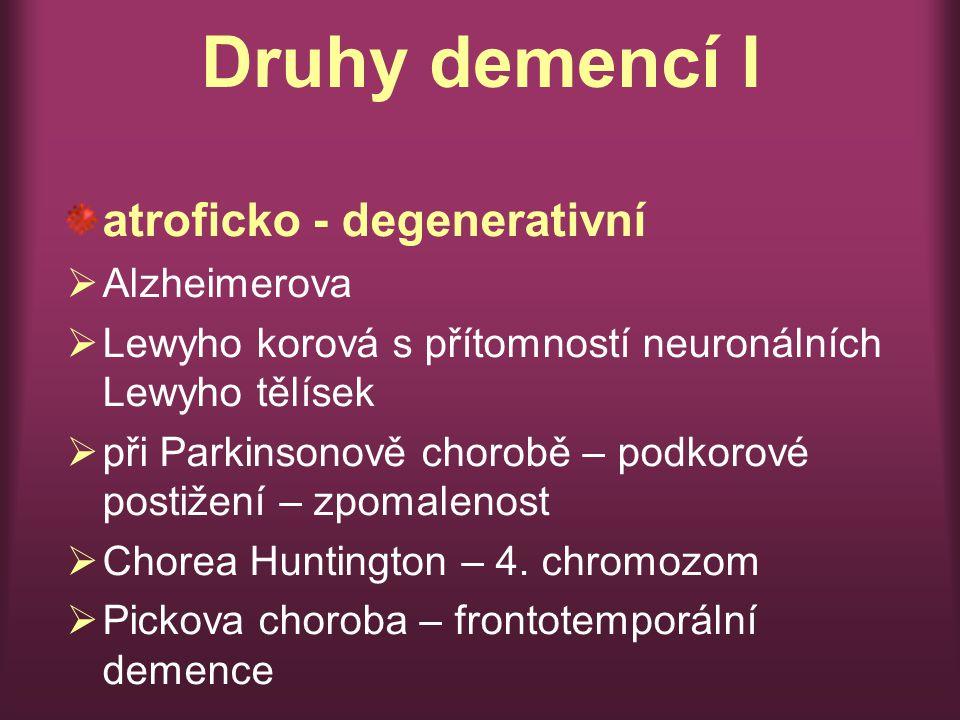 Druhy demencí I atroficko - degenerativní Alzheimerova