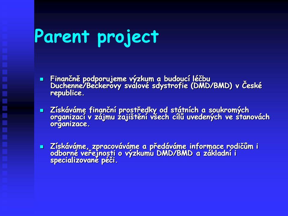 Parent project Finančně podporujeme výzkum a budoucí léčbu Duchenne/Beckerovy svalové sdystrofie (DMD/BMD) v České republice.