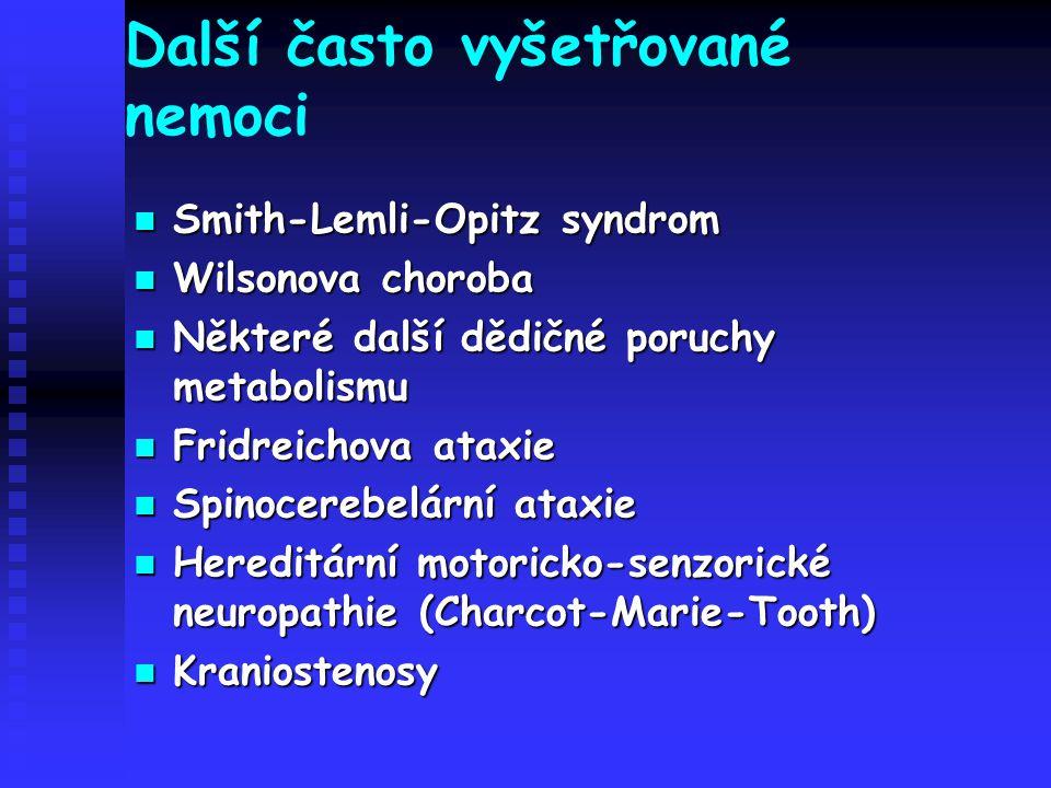 Další často vyšetřované nemoci