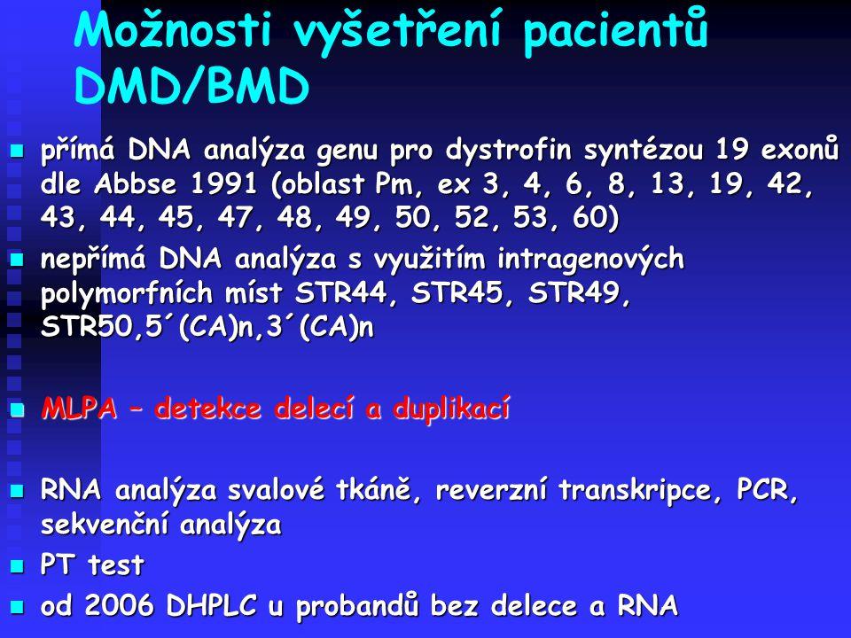 Možnosti vyšetření pacientů DMD/BMD