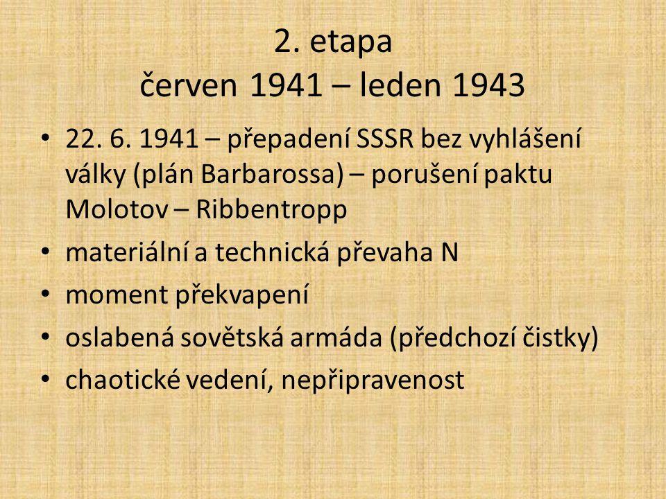2. etapa červen 1941 – leden 1943 22. 6. 1941 – přepadení SSSR bez vyhlášení války (plán Barbarossa) – porušení paktu Molotov – Ribbentropp.