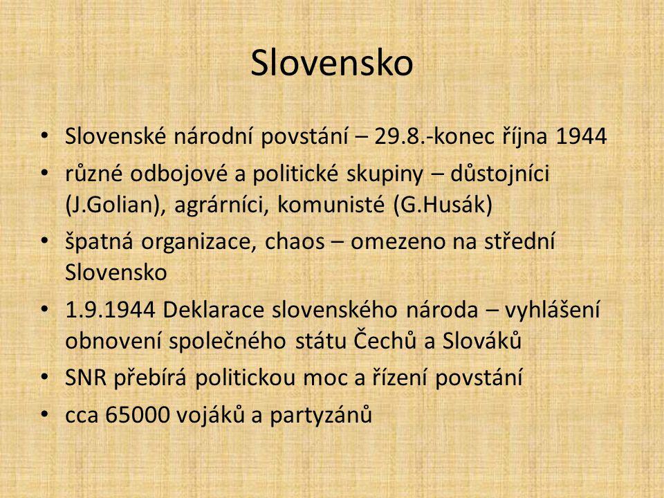 Slovensko Slovenské národní povstání – 29.8.-konec října 1944