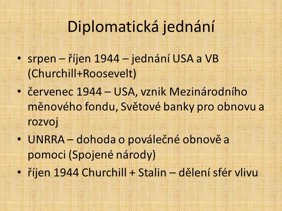 Diplomatická jednání srpen – říjen 1944 – jednání USA a VB (Churchill+Roosevelt)