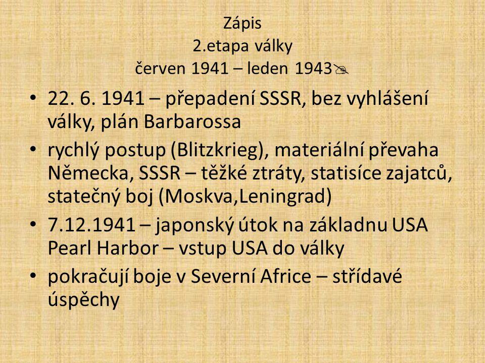 Zápis 2.etapa války červen 1941 – leden 1943