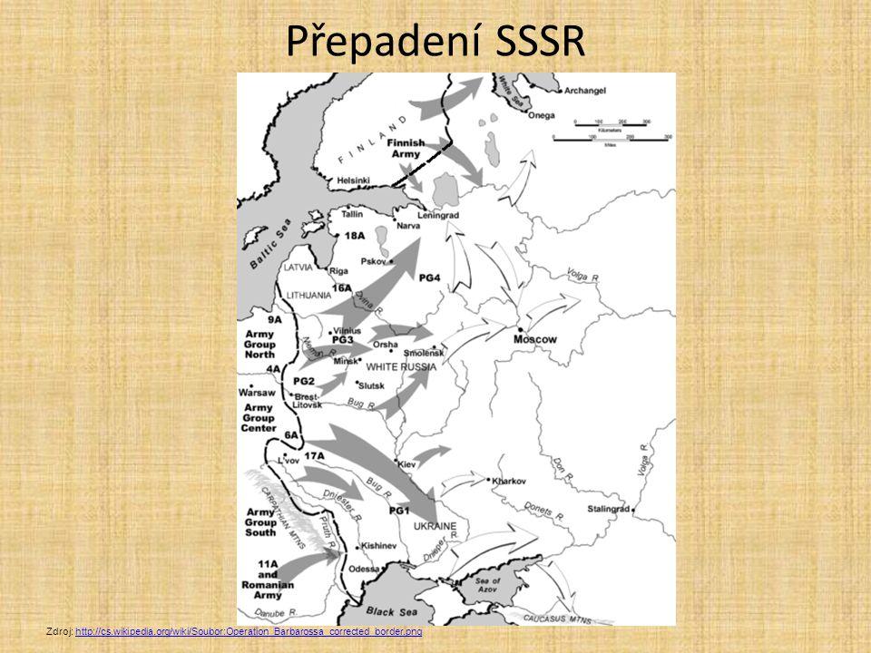 Přepadení SSSR Zdroj: http://cs.wikipedia.org/wiki/Soubor:Operation_Barbarossa_corrected_border.png