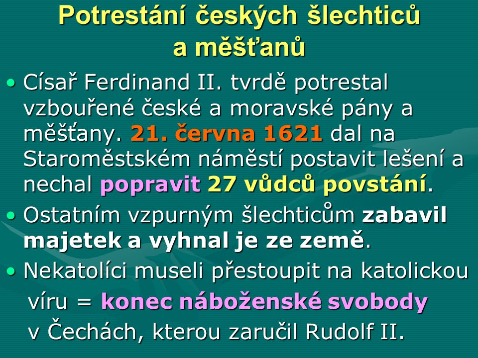 Potrestání českých šlechticů a měšťanů