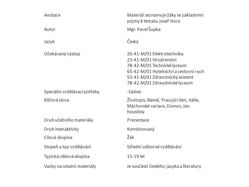 Anotace Materiál seznamuje žáky se základními pojmy k tématu Josef Hora. Autor. Mgr. Pavel Šupka.