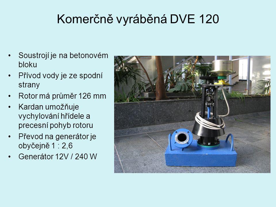 Komerčně vyráběná DVE 120 Soustrojí je na betonovém bloku