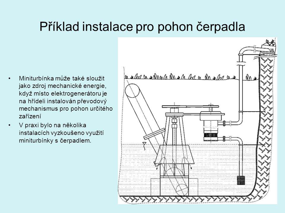 Příklad instalace pro pohon čerpadla