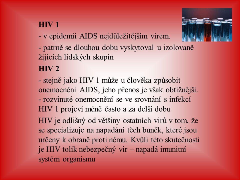 HIV 1 v epidemii AIDS nejdůležitějším virem. patrně se dlouhou dobu vyskytoval u izolovaně žijících lidských skupin.