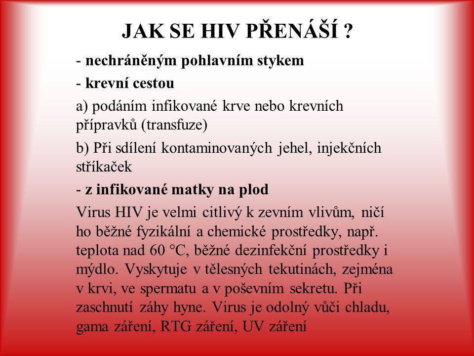 JAK SE HIV PŘENÁŠÍ - nechráněným pohlavním stykem - krevní cestou