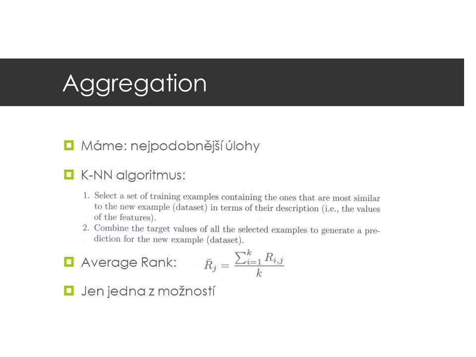 Aggregation Máme: nejpodobnější úlohy K-NN algoritmus: Average Rank: