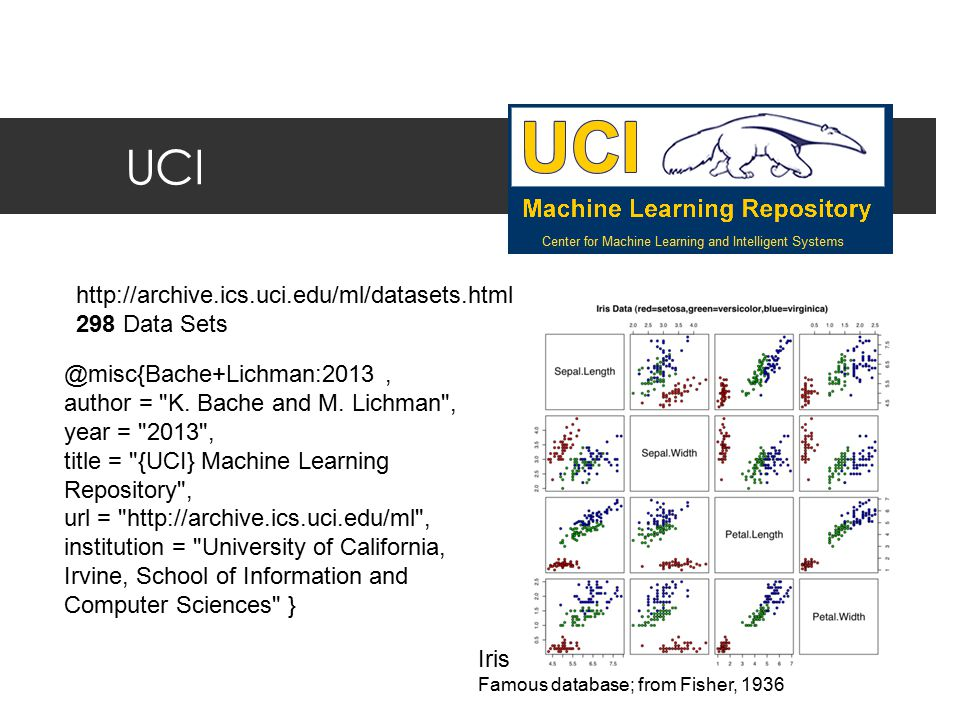 UCI http://archive.ics.uci.edu/ml/datasets.html 298 Data Sets