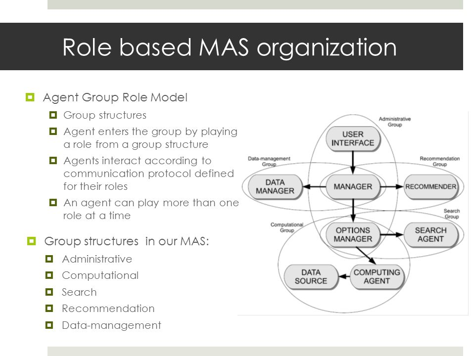 Role based MAS organization