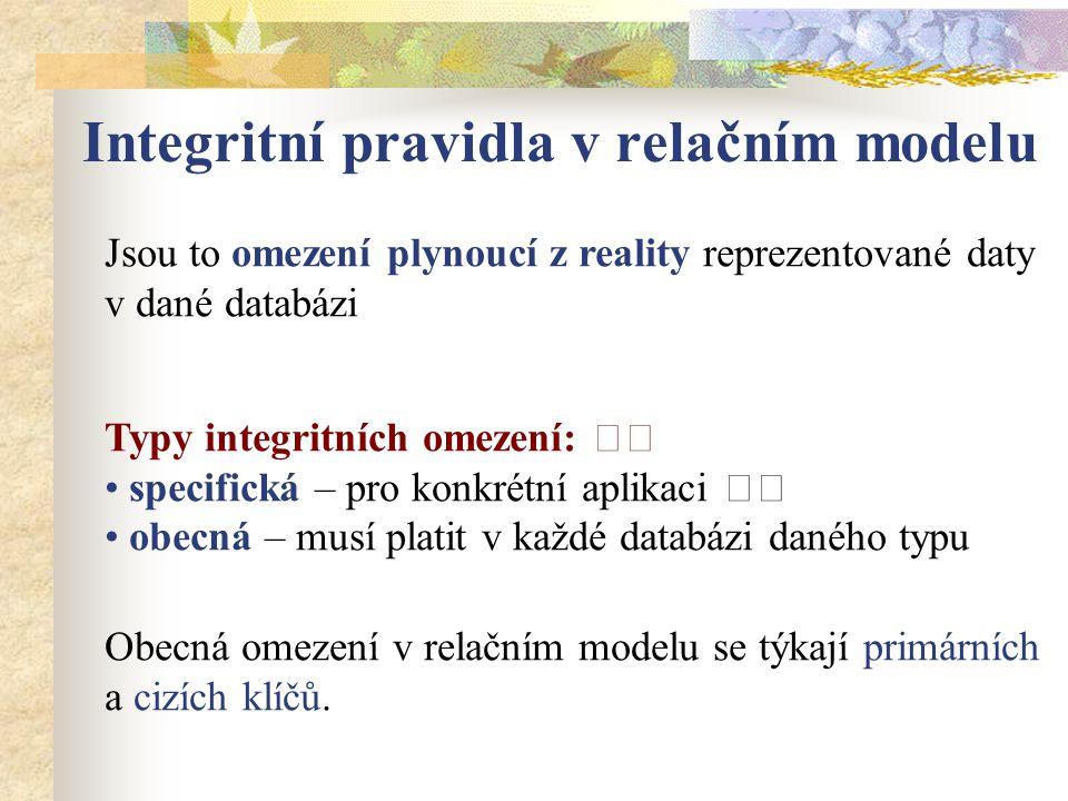 Integritní pravidla v relačním modelu