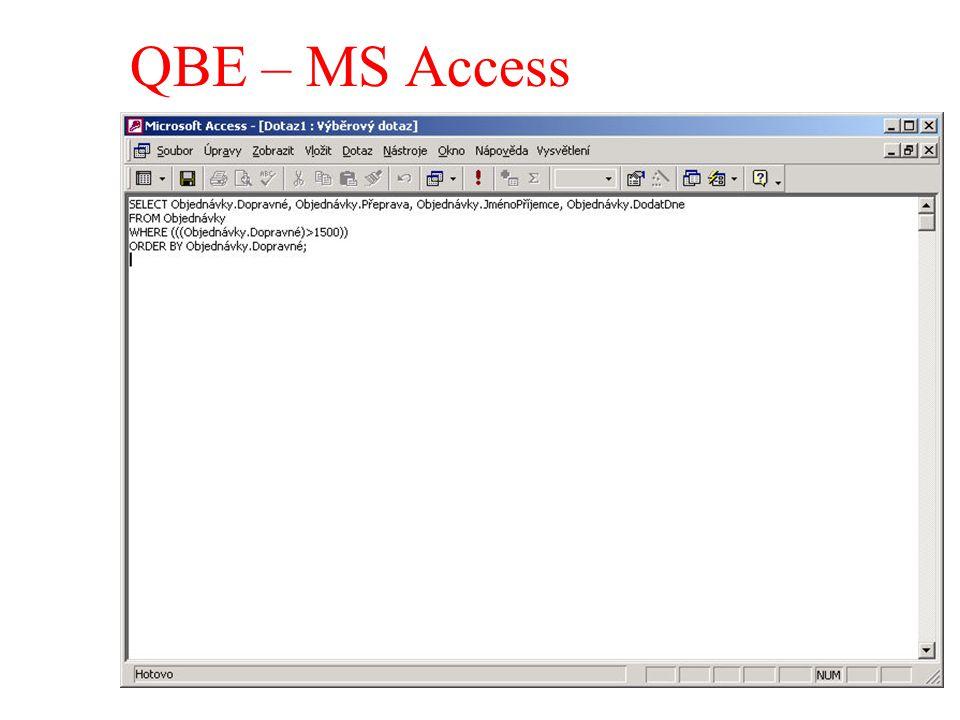 QBE – MS Access