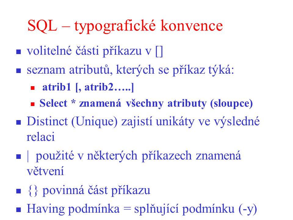 SQL – typografické konvence
